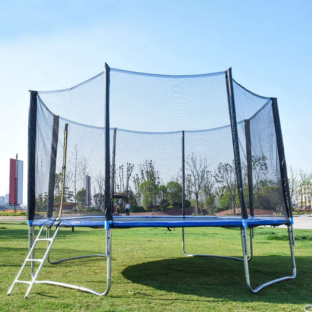 Jump Trampoline with Safety Enclosure Net and Spring Cover Pad Mat Tent with Ladder Outdoor Backyard Summer Exercise Fitness Water Toy Great Gift USVSU 12 FT Trampoline for Kids