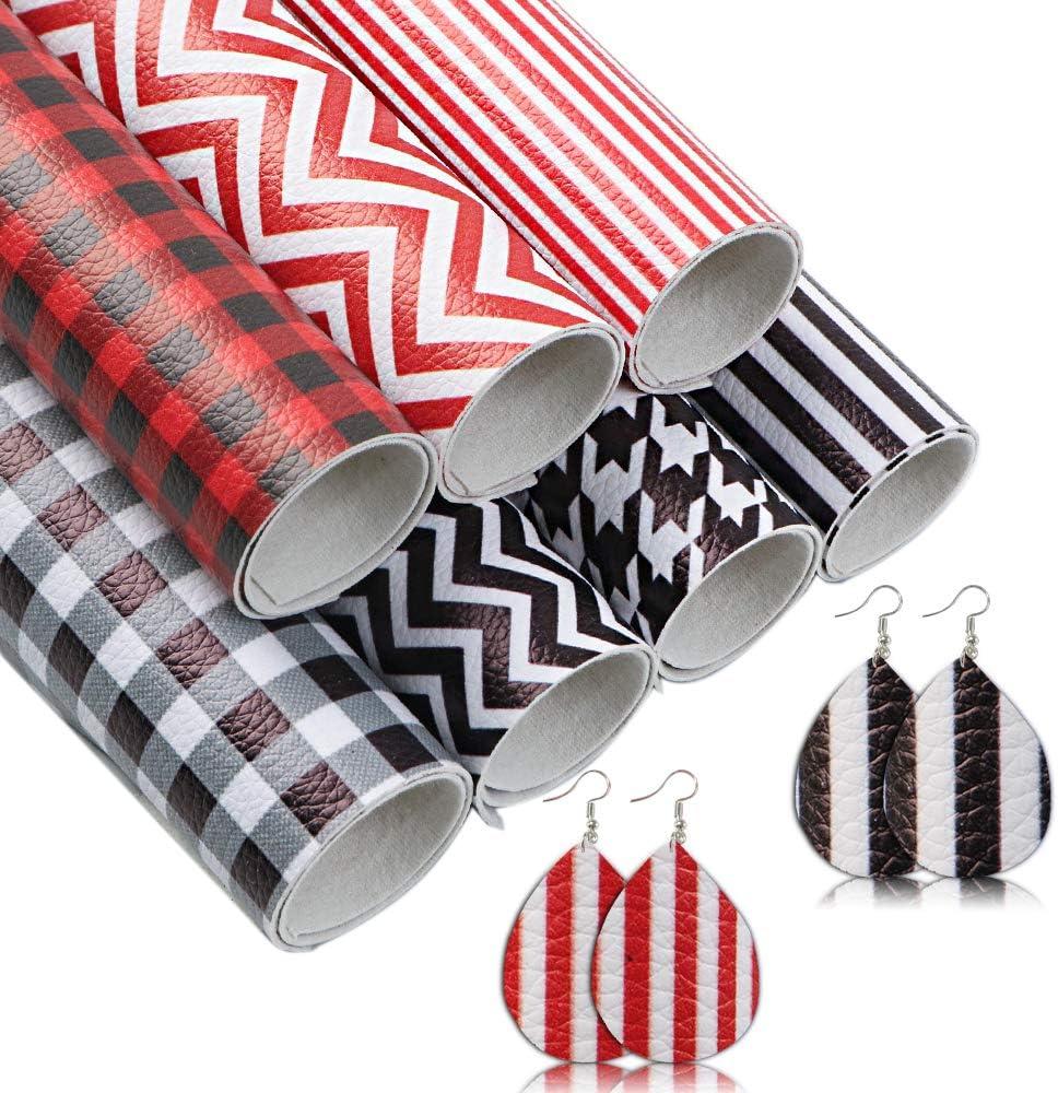 David Angie A5 Size Classic Buffalo Plaid Stripe Chevron Pattern Faux Leather Sheet 7pcs Assorted for Earrings Bows Making (Geometric)