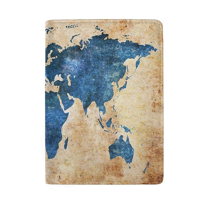 Amazon alaza vintage grunge world map leather passport holder alaza vintage grunge world map leather passport holder cover case travel wallet gumiabroncs Images