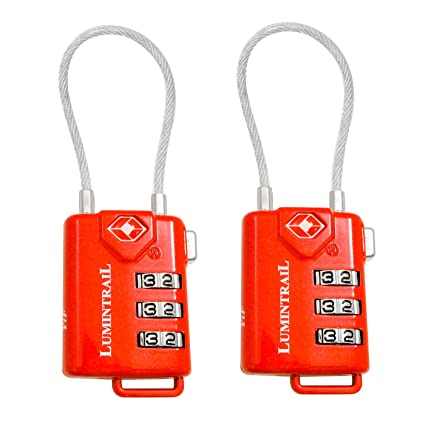 aadc8dadb5f1 Lumintrail 2 Pack TSA Approved Cable Travel Locks Personalized Combination  All Metal International Luggage for Suitcase and Baggage (Red)