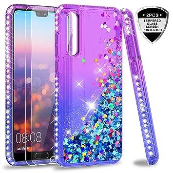 LeYi Funda Huawei P20 Pro Silicona Purpurina Carcasa con [2-Unidades Cristal Vidrio Templado], Transparente Cristal Bumper Telefono Fundas Case Cover ...