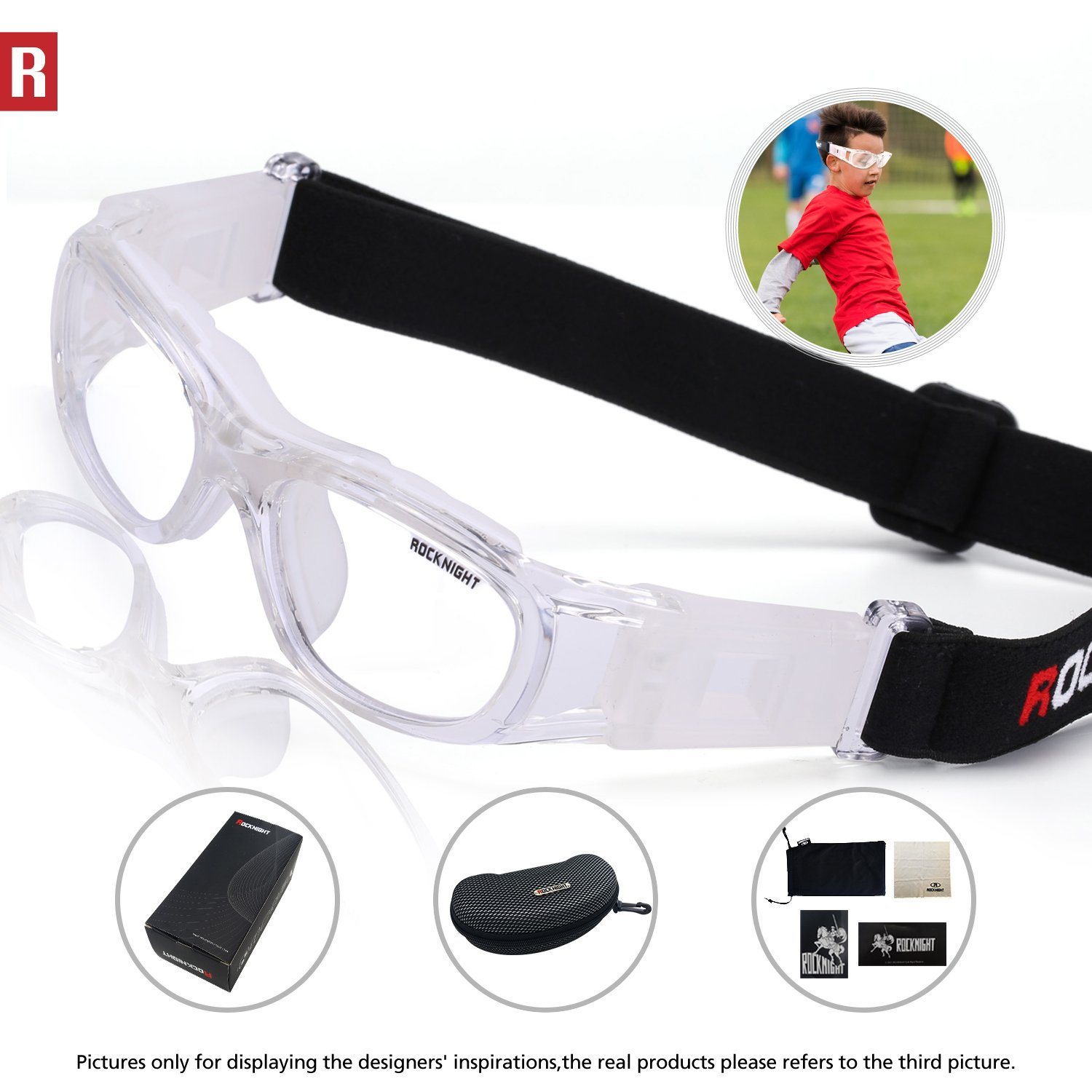 2fffff695d3 ROCKNIGHT Kids Safety Glasses Basketball Goggles Sports Prescription Glasses  for Volleyball Football Soccer 0855 Transparent