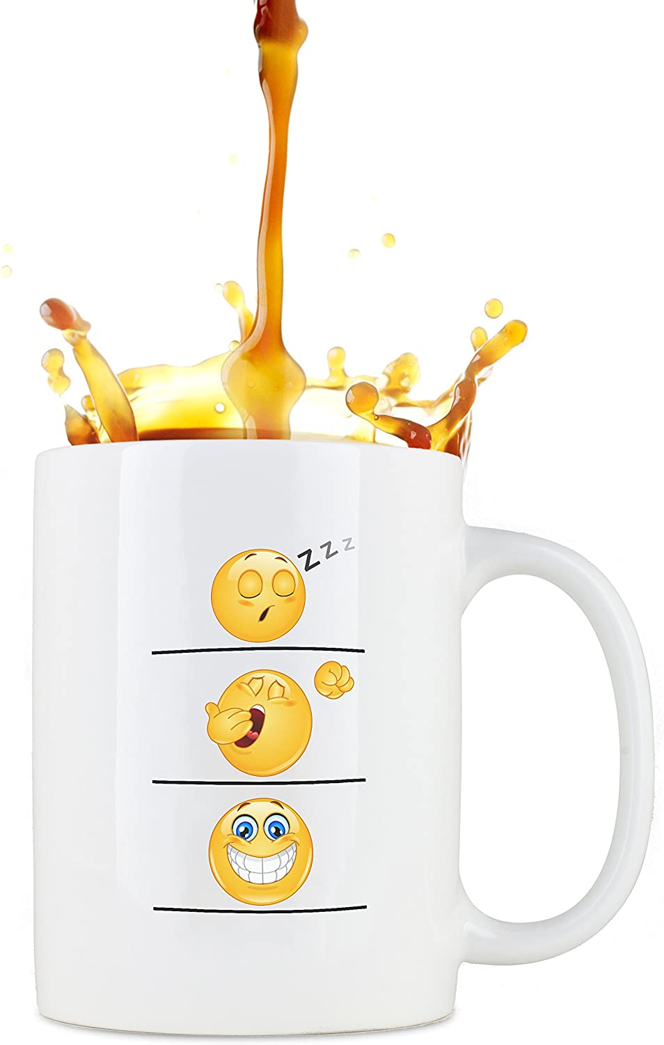 Whimsical Gift World Funny Coffee Cup/Mug, Emoji Smiley Face, Leak Proof with Large Handle, Humorous and Unique Novelty Gag Gift for Moms, Dads, Boys, Girls, Boss, Office and Others, 16 oz, Large