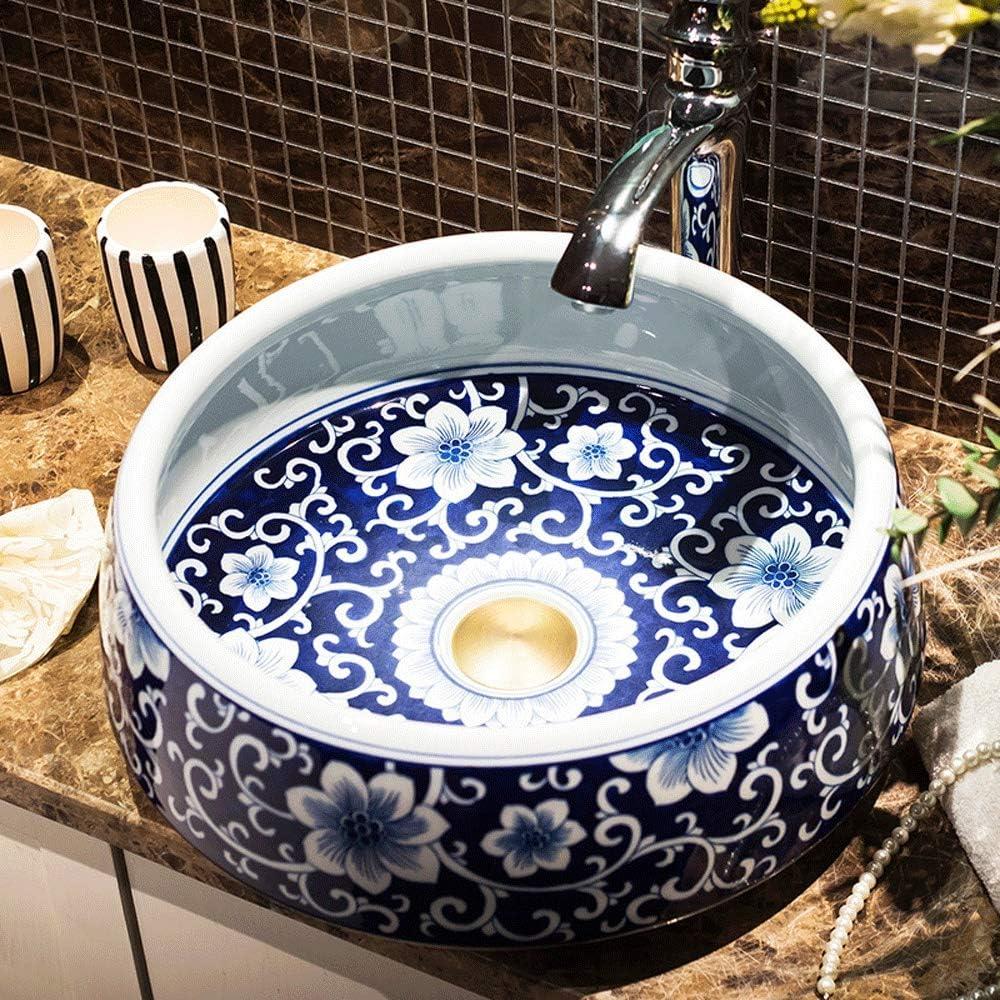 Amazon Com Art Bathroom Sinks Ceramic Vessel 15 Inch Round Above Counter Washing Basin Bowl Lavatary Sink European Vintage Style Hotel Household Wash Bowl White Blue Flower Pattern Home Kitchen
