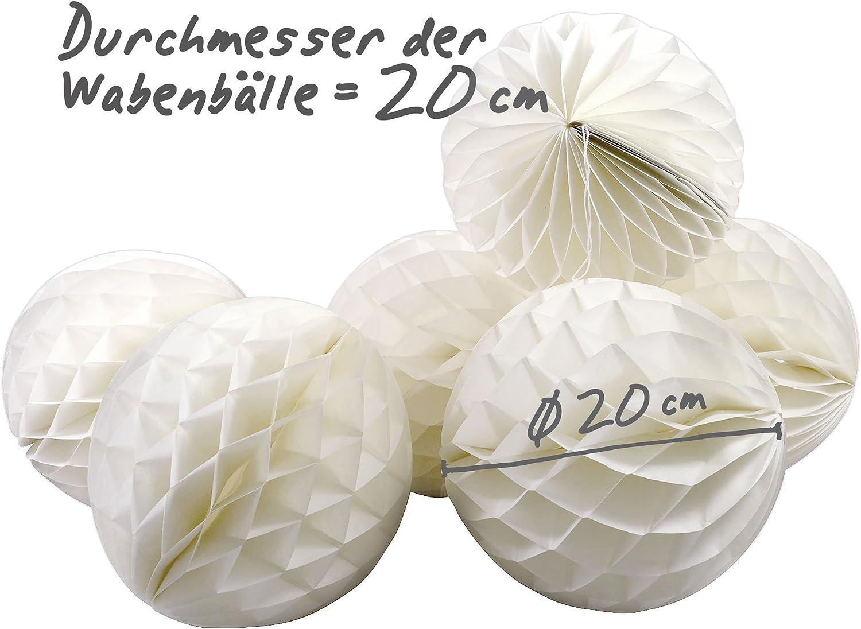 Grau Honeycomb Lampion als Deko f/ür Party und Hochzeit Wabenb/älle Simplydeko Mini-WABENBALL im 5er Set