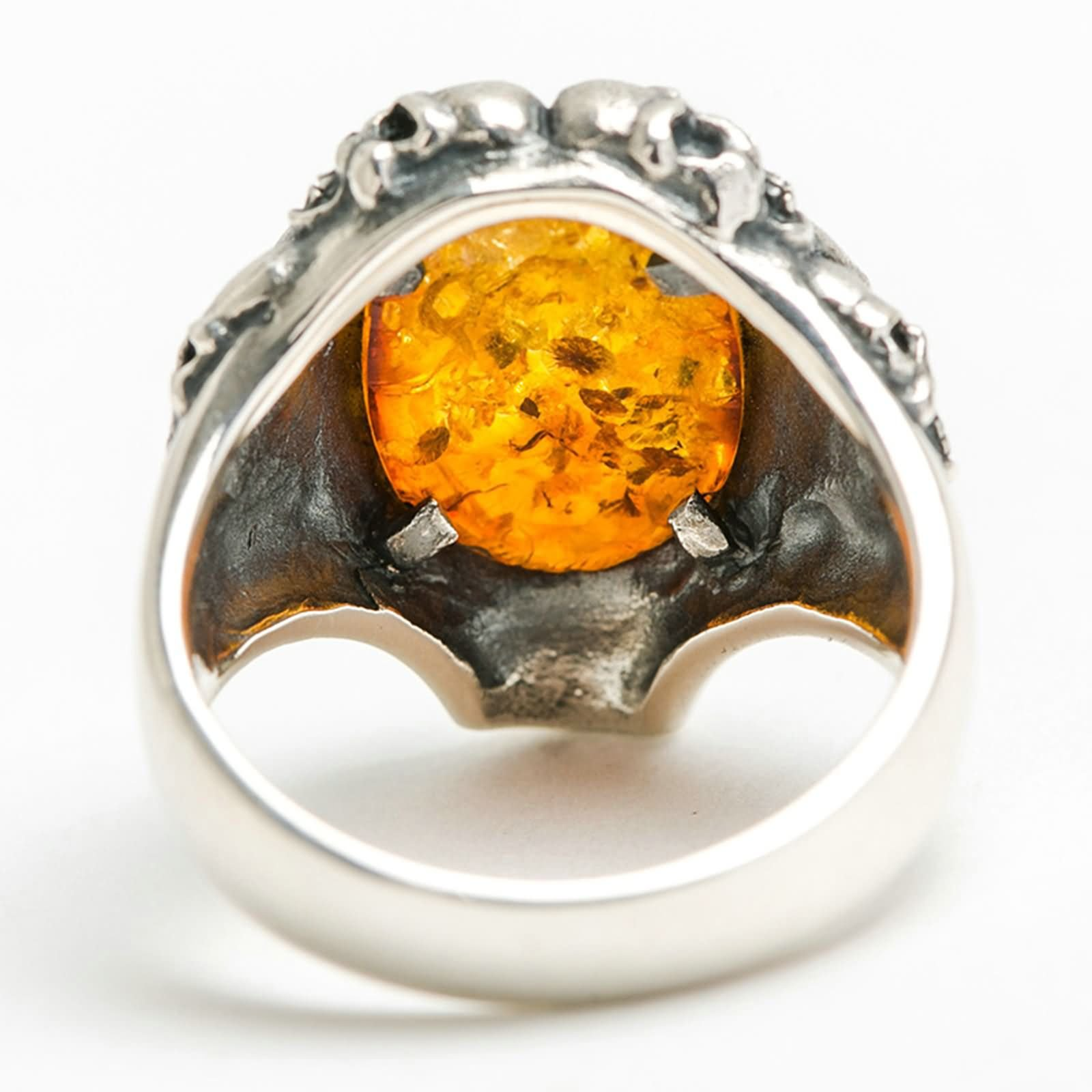 Bishilin Rings for Men Silver Plated Skull Oval Amber Friendship Rings Silver Size 12.5 by Bishilin (Image #4)