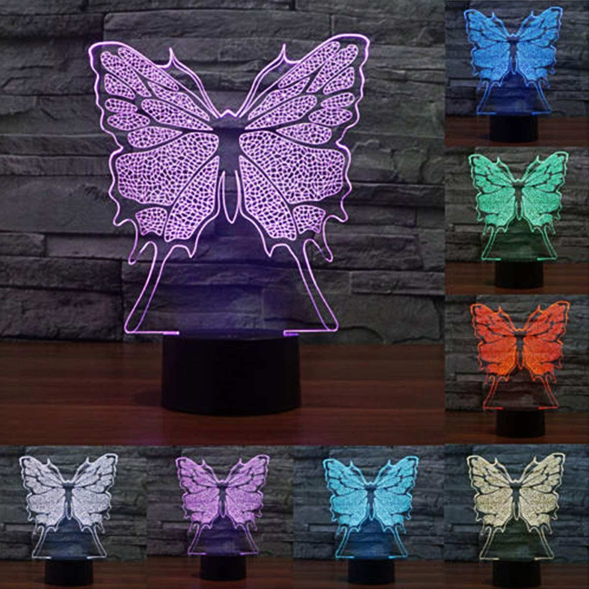 3D Led Illusion Lamp Dinosaur Butterfly /& Shark Desk Night Light-3 Model and 7 Color Change Decor Lamp with Remote Control-Best Gift Toys for Kids Lhippo