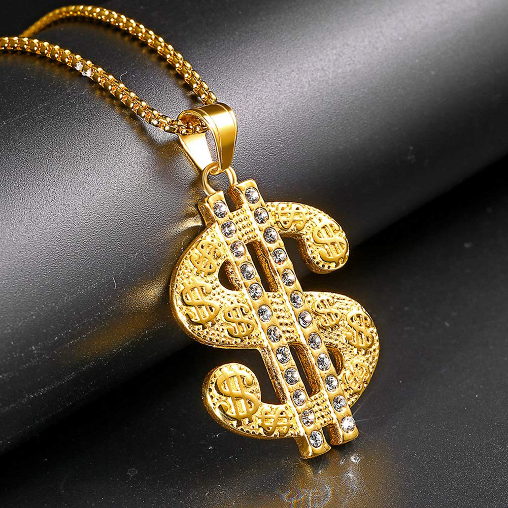 JAJAFOOK Men 18k Real Gold Plated Dollar Sign Pendant Necklace,Cz Inlay,with Free Hip hop Chain 24