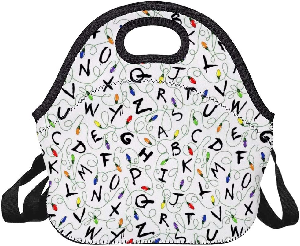 KECEUR Stranger Letter Things Reusable Lunch Bags, Insulated Cooler Lunch Bag, Office Work Picnic Hiking Beach Lunch Box with Shoulder Strap Women Men
