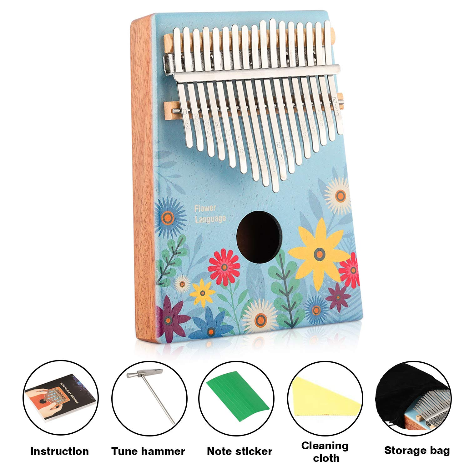 17 Key Kalimba Thumb Piano Kit Finger Piano Flower Pattern Portable Mahogany Wood African Music Instrument with Tuning Hammer Music Instruction Book Key Stickers by MIFXIN