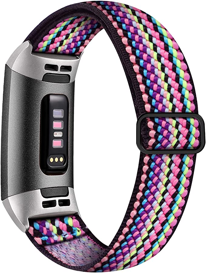 Witzon Adjustable Elastic Bands Compatible with Fitbit Charge 4 / Charge 3 / 3SE Bands, Breathable Loop Fabric Pattern Replacement Strap Stretchy Charge 3 Wristbands for Women Men, Colorful Rope   Amazon