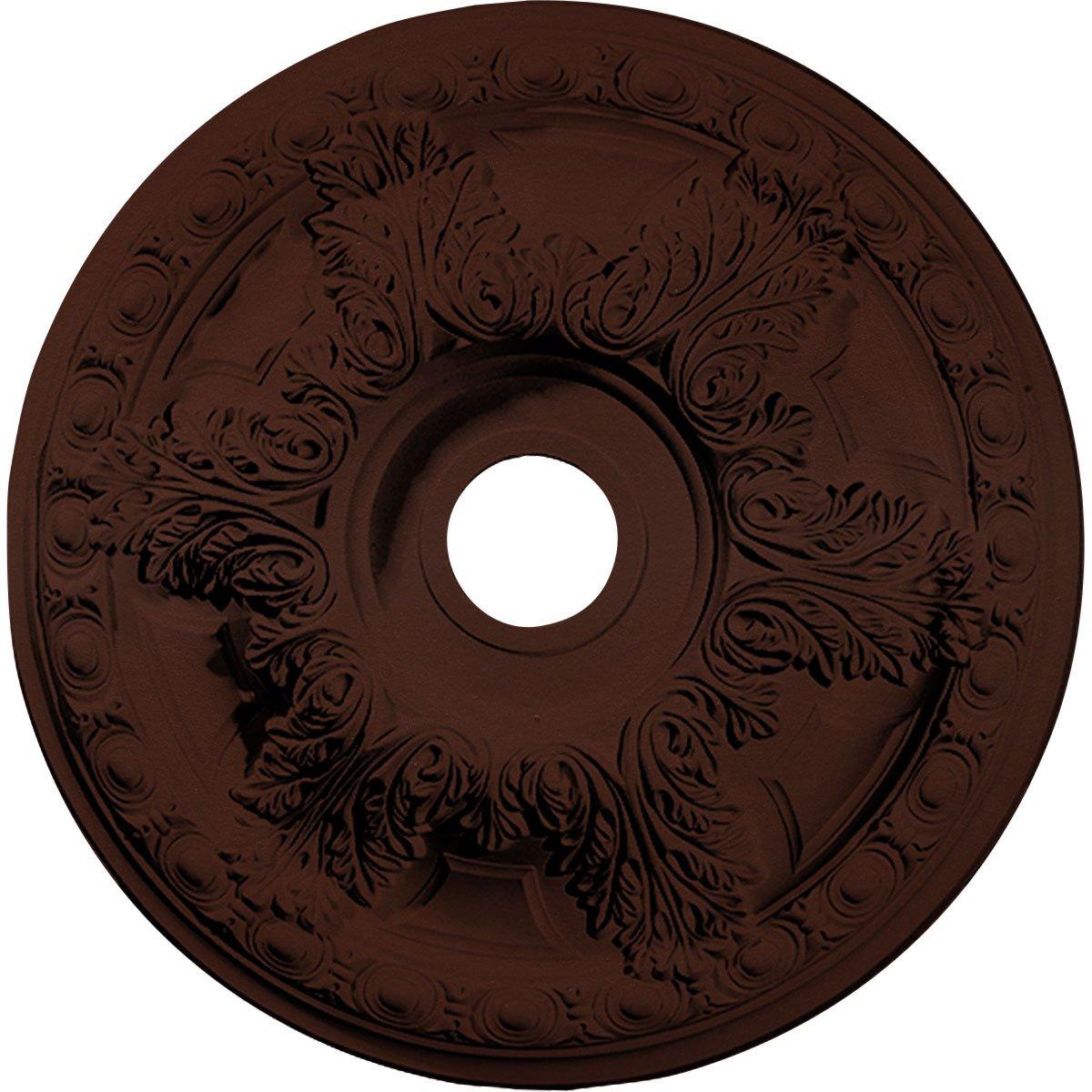 Ekena Millwork CM23GABMF Granada Ceiling Medallion, 23-3/8'' x 3-5/8'' x 2-1/2'', Brushed Mahogany