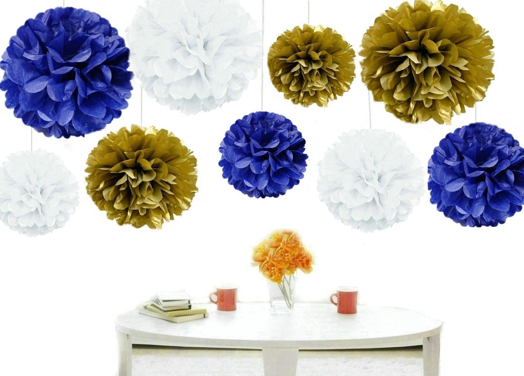 Kubert® Pom Poms -18Pcs of 8'' 10'' 14'' Multi-Colors Tissue Paper Flowers Pom Poms Wedding Decor Party Decor Pom Pom Flowers Pom Poms Craft Pom Poms Decoration-Vintage Hanging Lantern