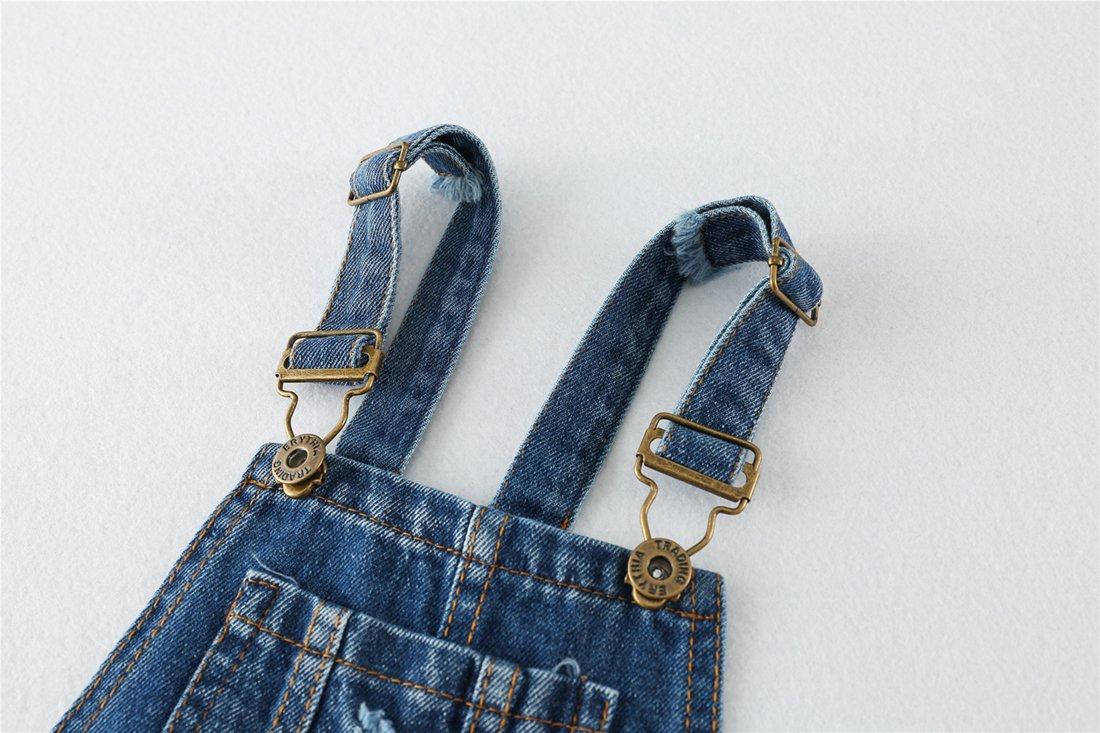 Chumhey Big&Little Girls 2Pc Big Bib Jeans Summer Shortalls Set T-Shirts,Blue,6-7 Years by Chumhey (Image #8)