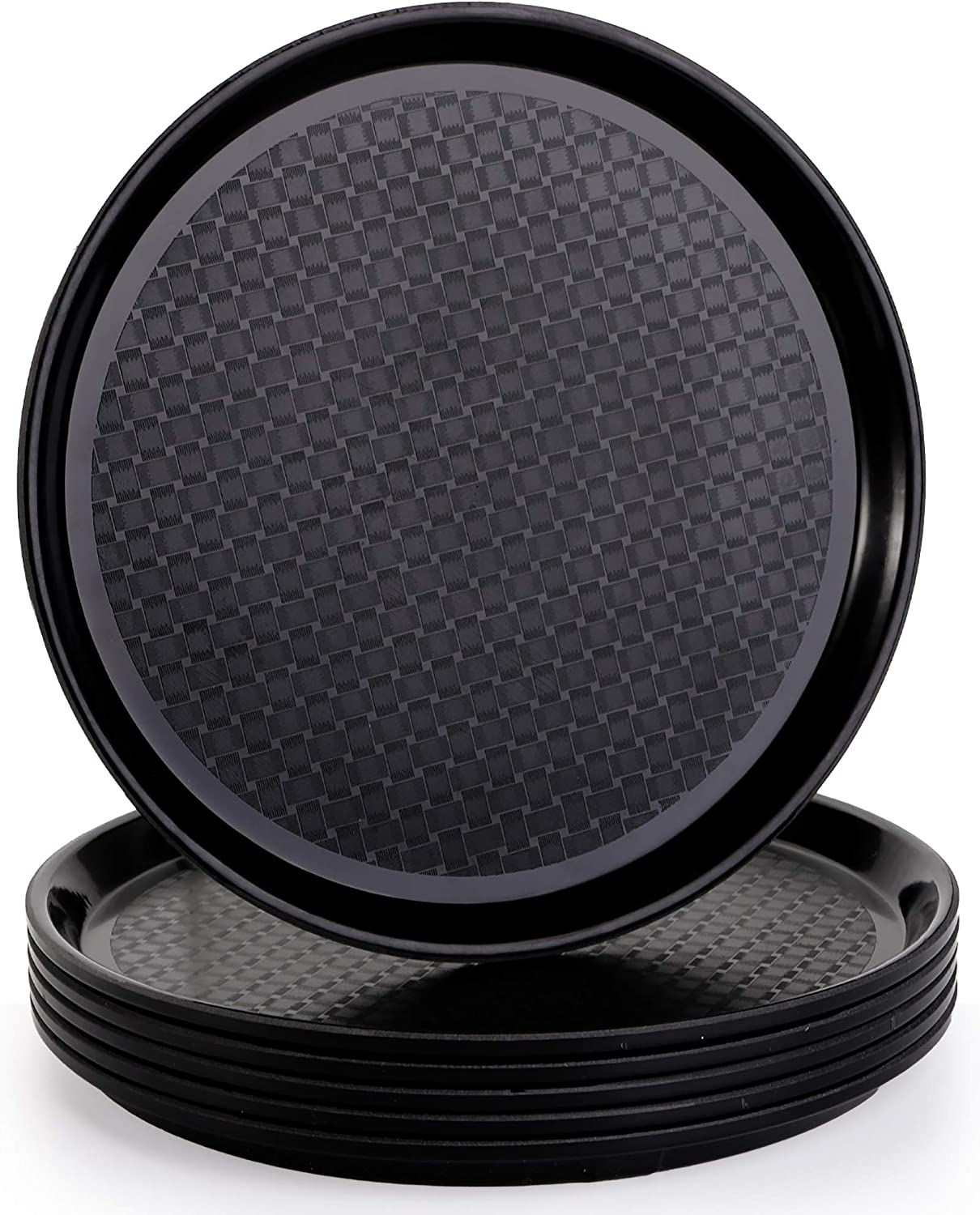 Yesland 6 Pack Non-Slip Tray, 11 Inch Round Serving Tray & Ottoman Tray, Plastic Coffee Table Circle Tray / Plate with Raised Edges for Breakfast, Drinks, Snack for Coffee Table, Dining Table(Black)