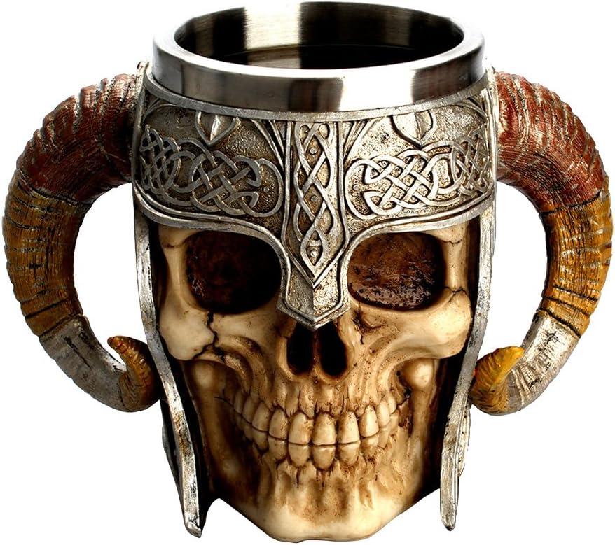 LUOEM Halloween cr/âne Tasse /à Boire Tasse /à caf/é en Acier Inoxydable r/ésine 3D Skull Coupe Tankard pour Halloween Bar Party Horror Decor Cadeaux dhalloween