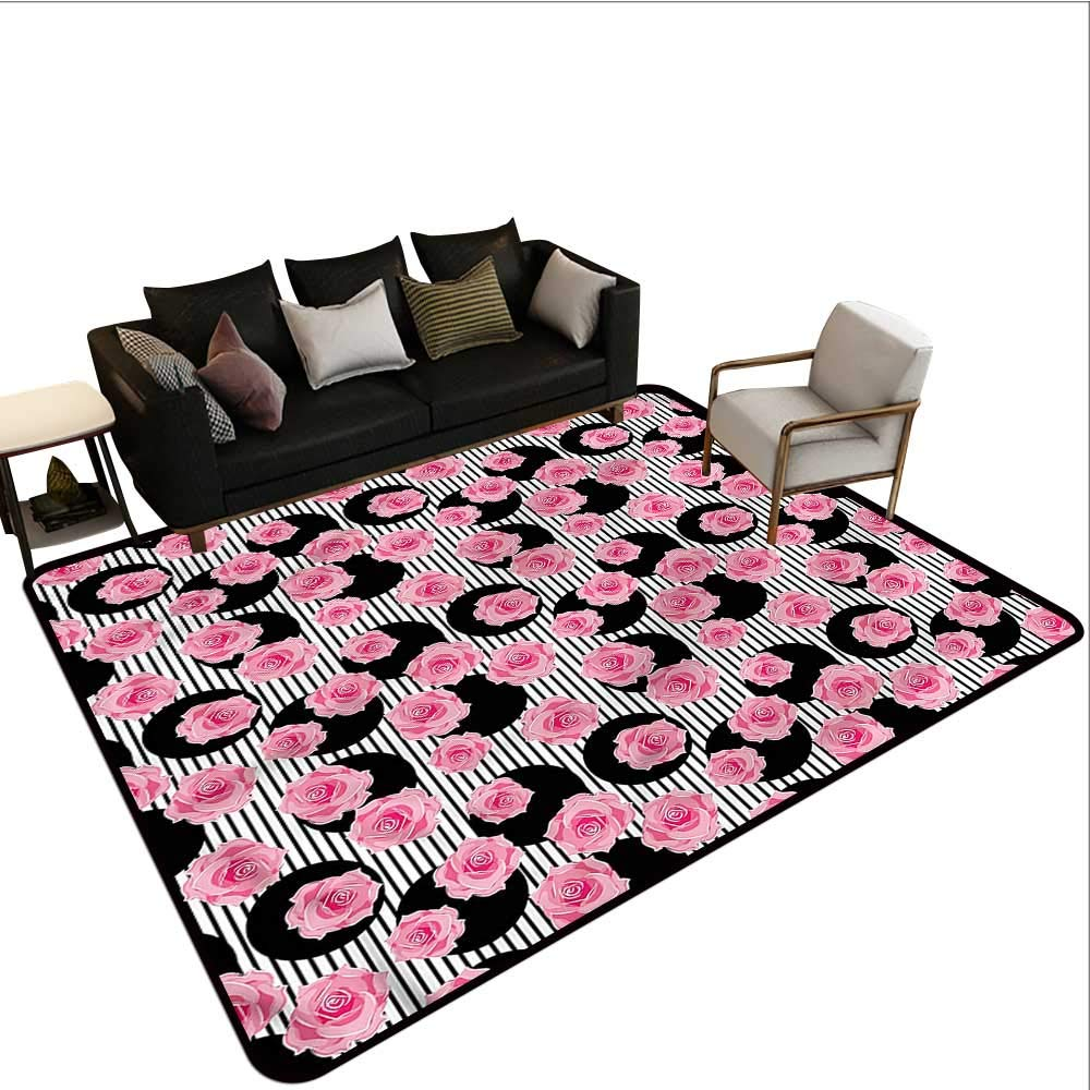 "Floral,Floor Mats For Kids 80""X 120"" Romantic Rose Petals Stripes Rubber Mat"