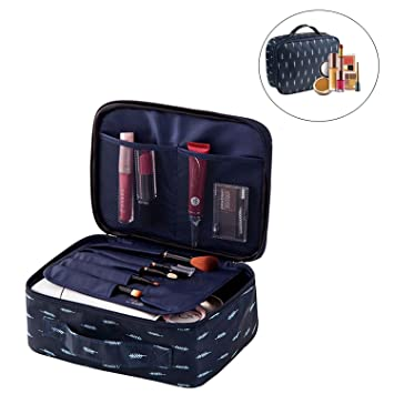 25c8b74974b3 Travel Makeup Cosmetic Bag with Brush Case, Portable Toiletry Bag Travel  Makeup Cosmetic Organizer...