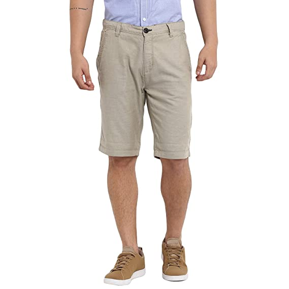 f921bebb36 KVL Mens Cotton Woven Solid Bermuda Shorts - Beige: Amazon.in ...
