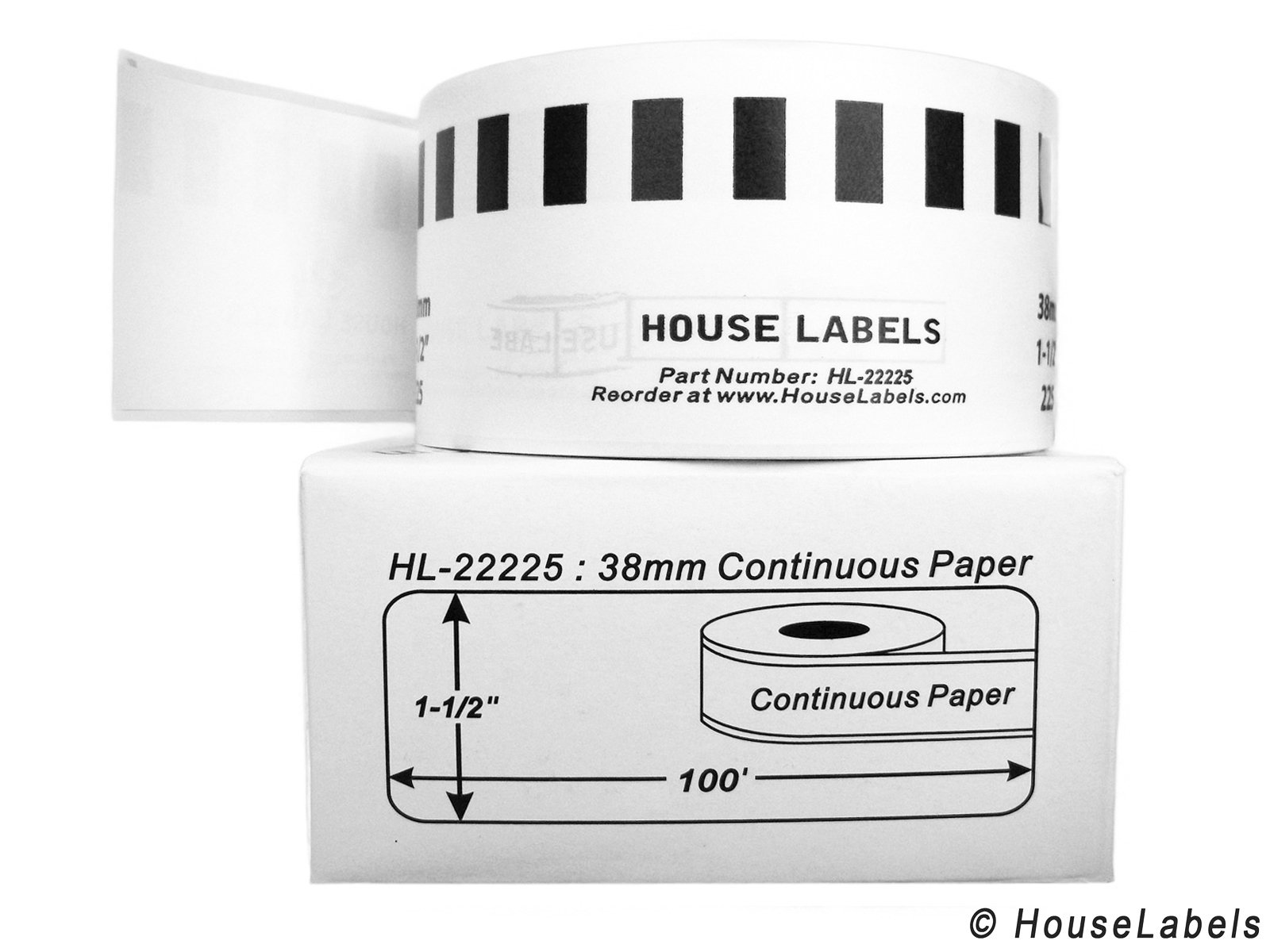 4 Rolls; Continuous Paper, BROTHER-Compatible DK-2225 Continuous Paper Labels (1-1/2'' x 100'; 38mm30.48m) -- BPA Free!