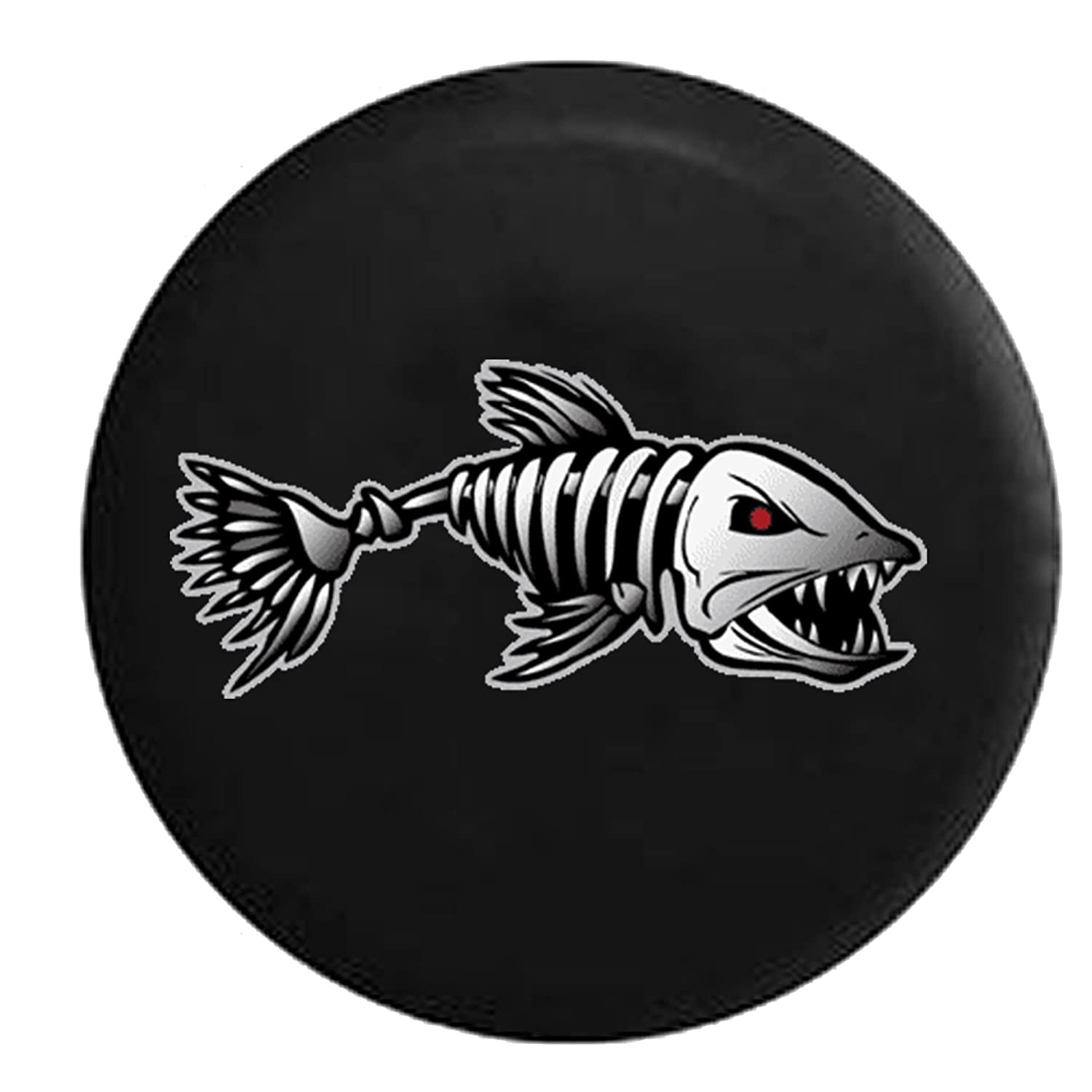 Bone Fish Red Eyes Fishing Jeep RV Spare Tire Cover Black 35 in 556 Gear