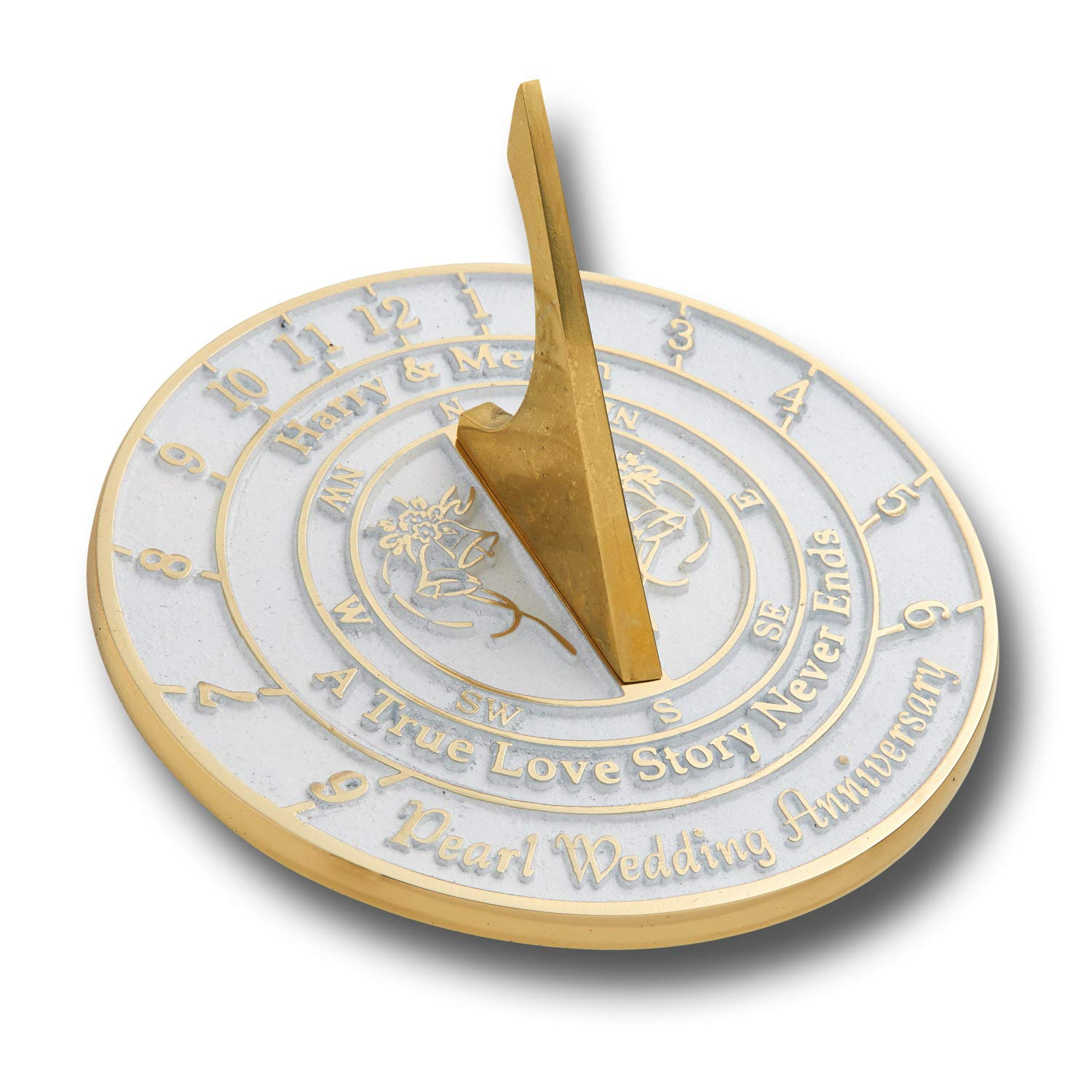 The Metal Foundry Personalized 30th Pearl Wedding Anniversary Large Sundial Gift Idea is A Great Present for Him, for Her Or for A Couple to Celebrate 30 Years of Marriage