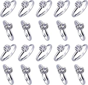 Topoox 80 Pack Bridal Shower Rings Silver Diamond Engagement Rings for Wedding Table Decorations, Party Games, Cupcake Toppers