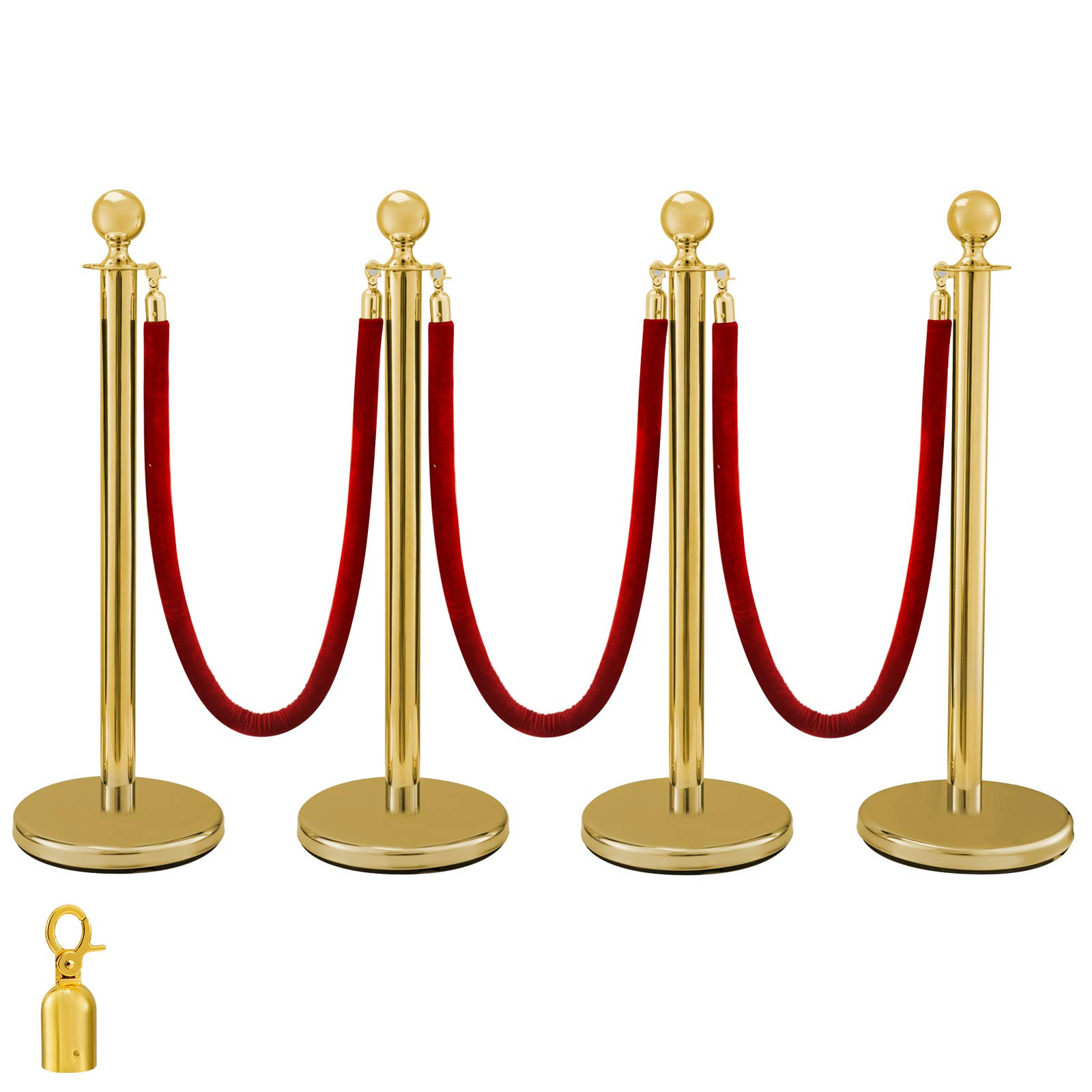 BestEquip 38 Inch Gold Stanchion Posts Queue 4Pcs Red Velvet Rope Crowd Control Barriers Queue Line Rope Barriers for Patrty Supplies by BestEquip