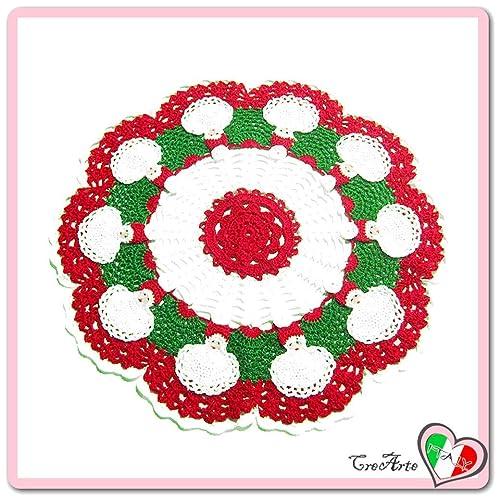 Rot Und Weiß Häkeln Deckchen Mit Weihnachtsmann Für Weihnachten
