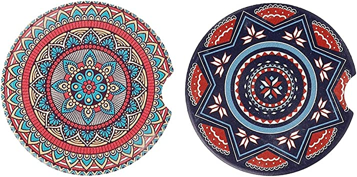Saugstarke Auto Untersetzer 2 Stück Mandala Keramik Getränkeuntersetzer Für Auto Becherhalter Auto Zubehör Dekorationen Für Frauen Küche Haushalt