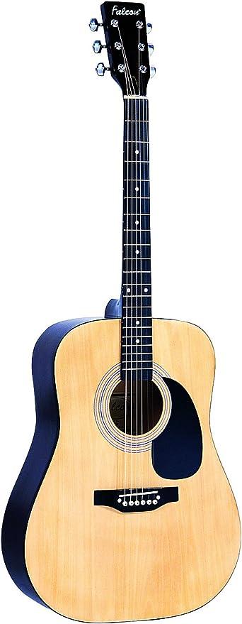 Falcon FG100N - Guitarra acústica (cuerdas metálicas), Marrón (Natural): Amazon.es: Instrumentos musicales
