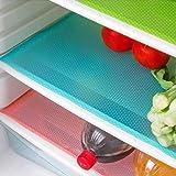 Cuteco 4 pcs Fashion Refrigerator pad Antibacterial antifouling Mildew Moisture Preserving Pad Refrigerator Mats Fridge Base Cushion Placemats Coasters Kitchen Pads (blue)
