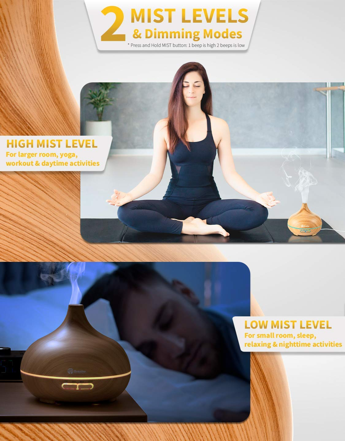 Breathe Essential Oil Diffuser | 550ml Diffusers for Essential Oils with Cleaning Kit & Measuring Cup | 16 LED Color Light Options, 4 Timer Settings, 2 Mist Outputs, Auto Power Off : Beauty