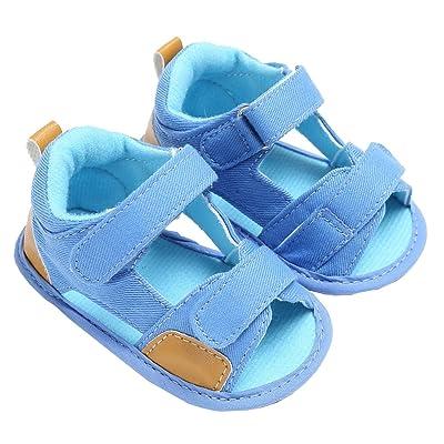 Baby Boys Summer Breathable Denim Open-Toe Beach Walking Two-Strap Sandals
