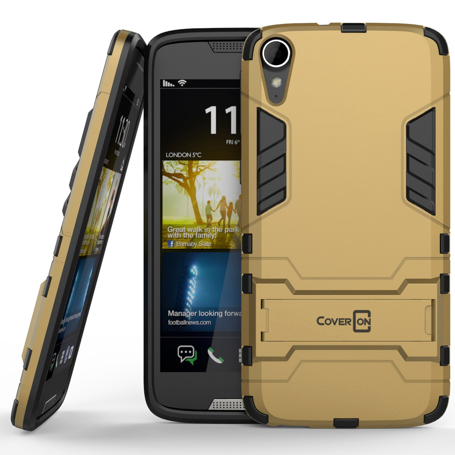 low priced c748d f7820 HTC Desire 828 Case, CoverON [Shadow Armor Series] Hard Slim Hybrid  Kickstand Phone Cover Case for HTC Desire 828 - Gold & Black