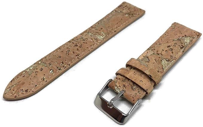 Correa de Reloj de Corcho marrón con Hebillas Doradas de Acero Inoxidable Vegano de 18 mm y 20 mm: Amazon.es: Relojes