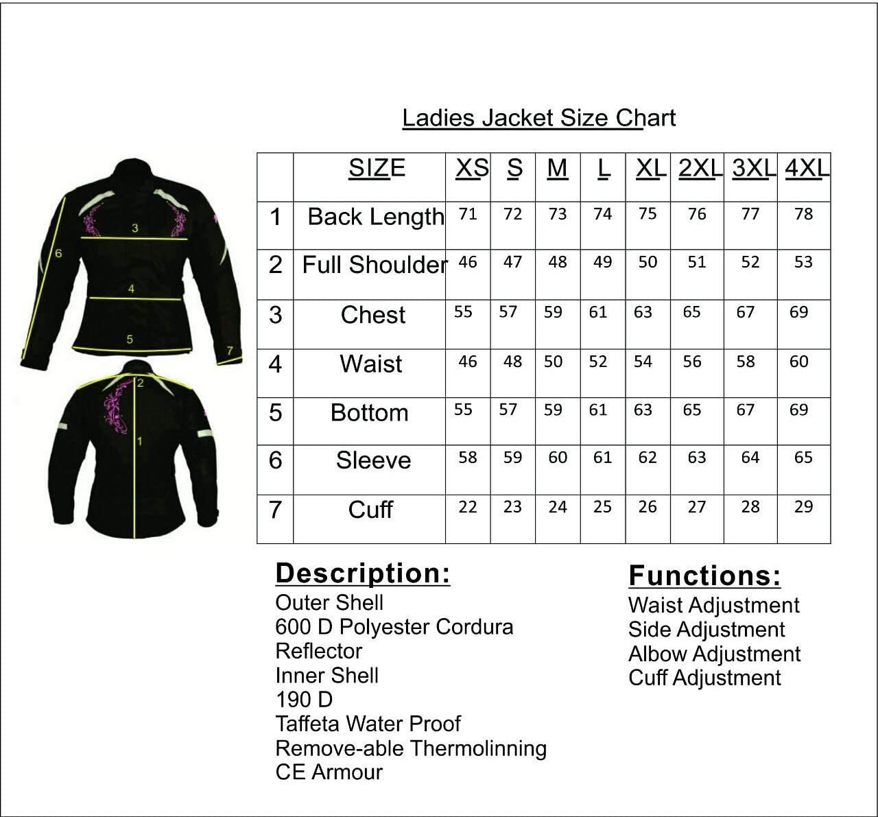 Ladies Motorcycle Motorbike Scooter Waterproof Textile Pink Safety Protective Armored Jacket