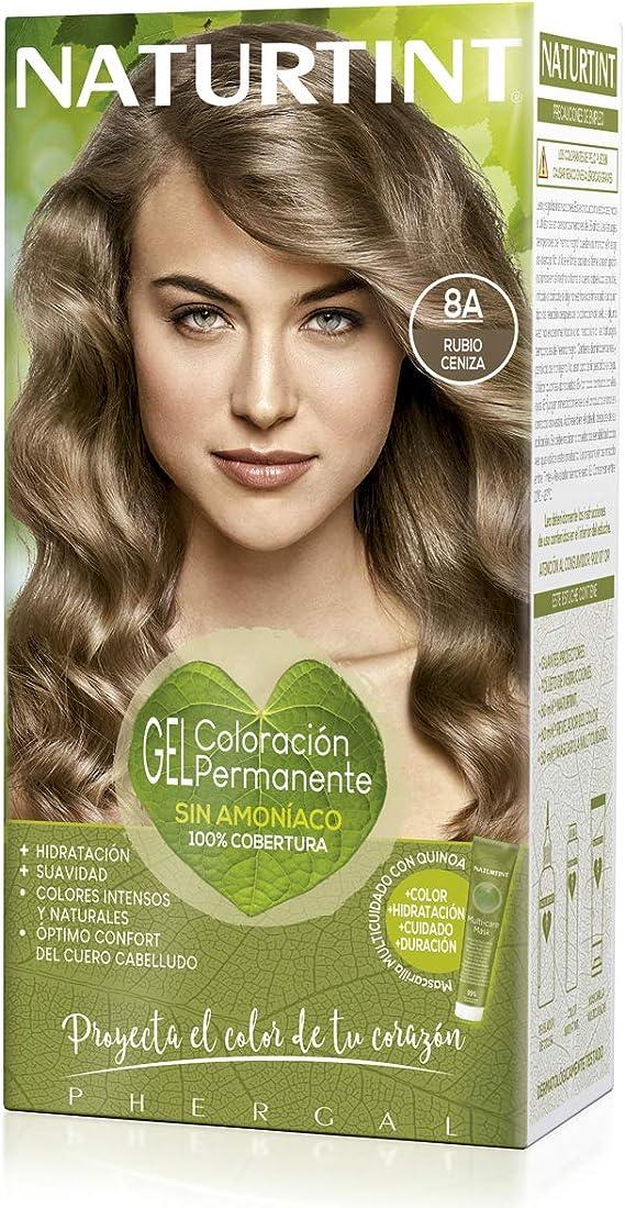 Naturtint | Coloración sin amoniaco | 100% cobertura de canas | Ingredientes vegetales | Color natural y duradero | 8A Rubio Ceniza | 170ml