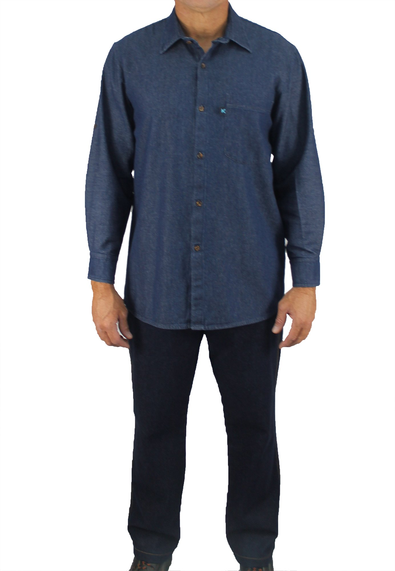 Kolossus Men's Lightweight 100% Cotton Long Sleeve Work Shirt with Pockets (Chambray, Large)