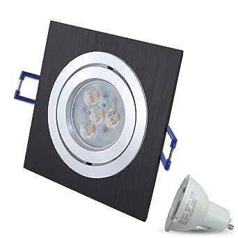 Design LED Einbaustrahler Einbauleuchte eckig gebürstet 230V 3W warmweiß 2700K