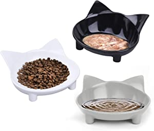 choemore Cat Bowls Cat Food Bowls Non Slip Wide Shallow Cat Dish Set of 3 for Relief of Whisker Fatigue