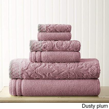 Morado Jacquard toalla de baño (6 piezas, hermosa damasco geométrico bordado patrón sólido textura