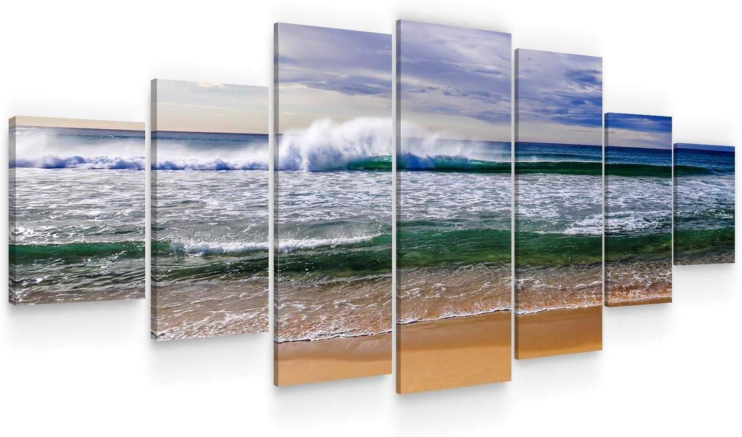 Startonight Huge Canvas Wall Art - Ocean Waves Large Framed Set of 7 40