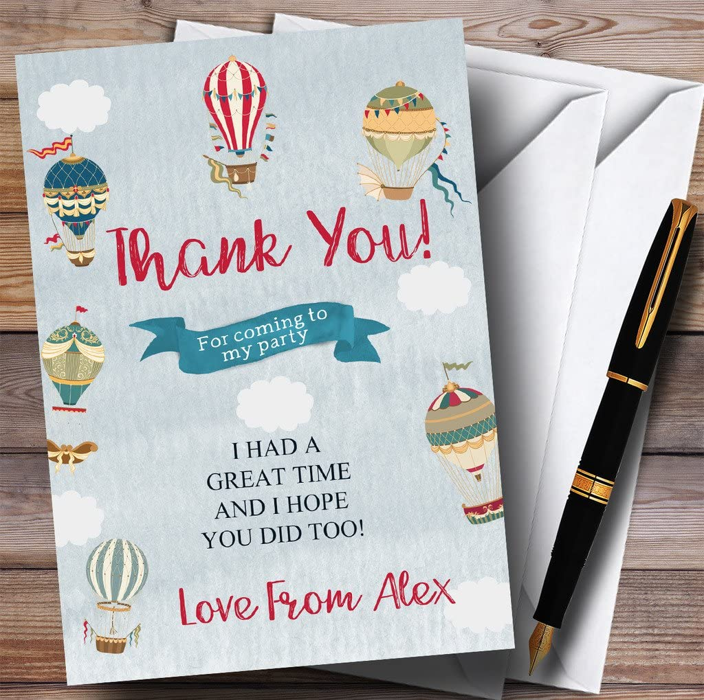 Boys Vintage Blue Hot Air Balloon Party Thank You Cards