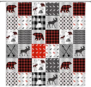 Plaid Shower Curtain Christmas Red Black Grid Geometric Splicing Moose Bear Safari Hunting Wild Animal Fabric Bathroom Decor Set 70x70 Inch with Hooks,White Black Red