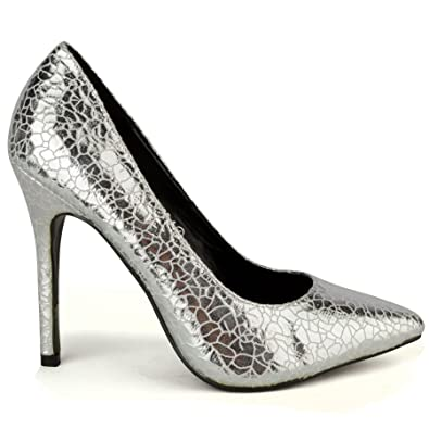 27eddba14af Fusion Women s Metallic Stiletto Heel Party Shoes Silver 7 UK - 40 ...