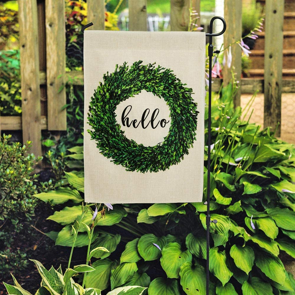DOLOPL Summer Hello Garden Flag 12.5x18 Inch Double Sided Decorative Verticle Green Boxwood Wreath Seasonal Yard House Flag for Spring Summer Outdoor Indoor Decoration