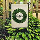 DOLOPL Summer Hello Garden Flag 12.5x18 Inch Double Sided Decorative Verticle Green Boxwood Wreath Seasonal Yard House…
