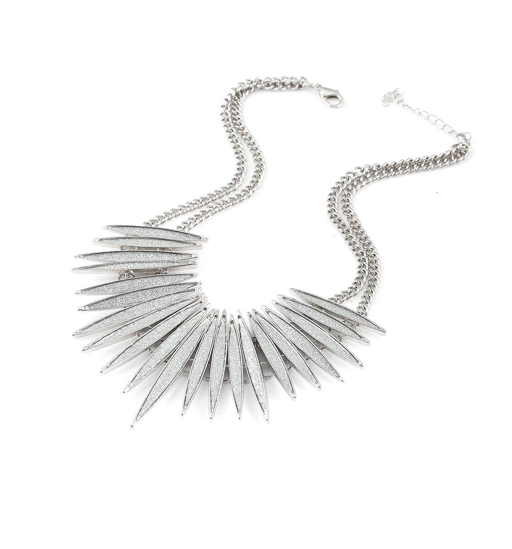 MOLOCH Sparkling Druzy Leaf Choker Necklace Fashion Silver-Tone Collar Necklace Bib Statement Chunky Tribal Necklace Woman Jewelry (silver)