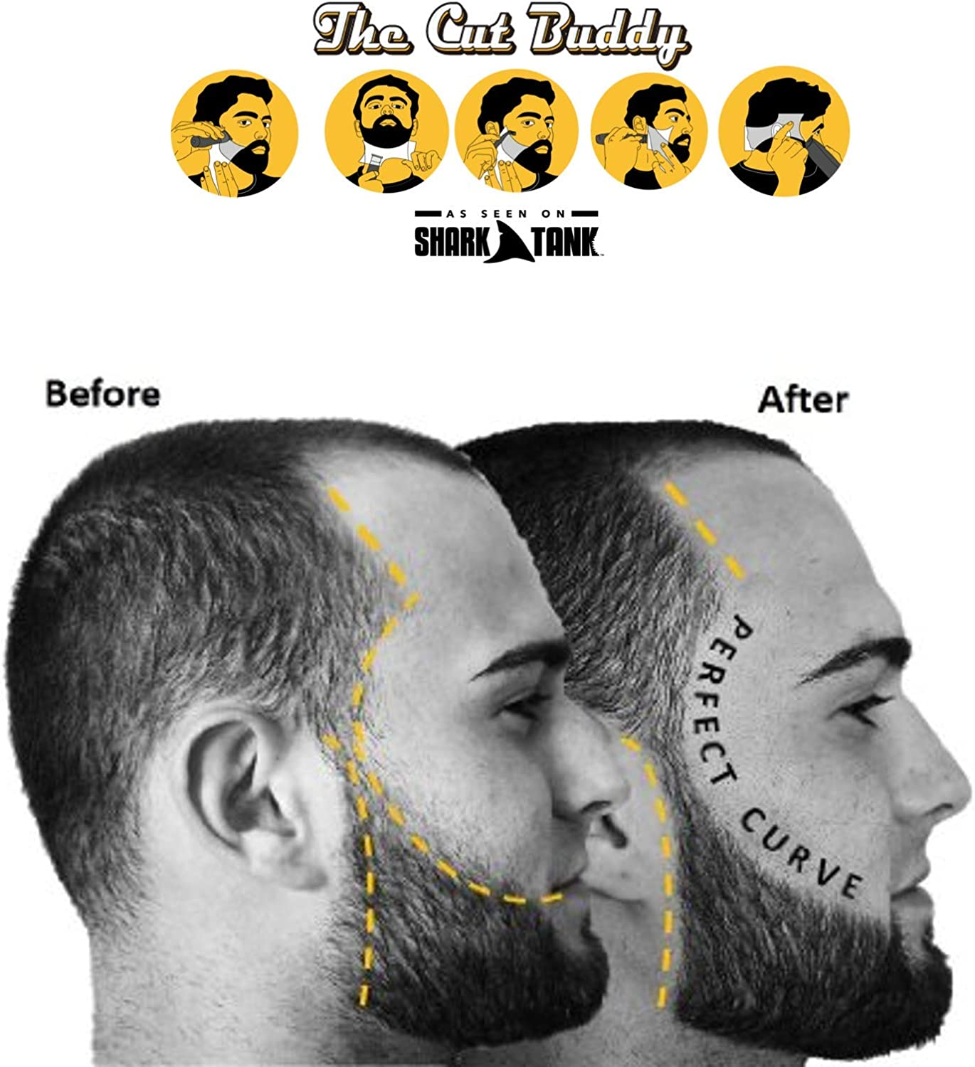 The Cut Buddy As Seen On Shark Tank - Beard Shaping Tool, Hair Trimmer  Guide, Mens Beard Template Tool, Goatee Liner, Mustache Styling Shaper,  Neck